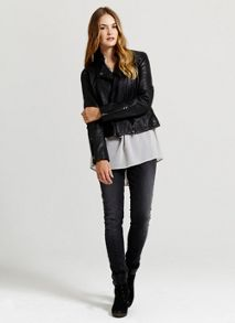 Black Stitch Leather Biker Jacket