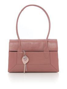 Border pink leather medium flapover tote bag