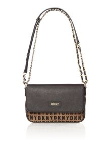 Saffiano gold small flap over chain cross body