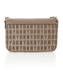 Saffiano tan small flap over chain cross body