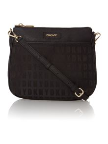 Saffiano black zip top cross body bag