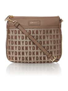 Saffiano tan zip top cross body bag