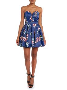 Strapless Floral Print Prom Style Dress