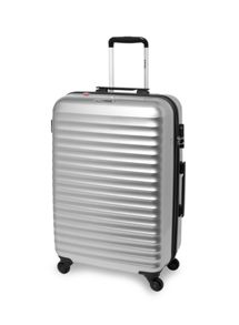 Axial silver 4 wheel hard medium suitcase