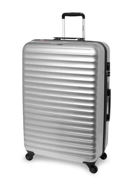 Delsey Axial silver 4 wheel hard large suitcase