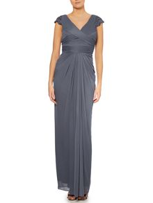 V neck gown with beaded cap sleeves