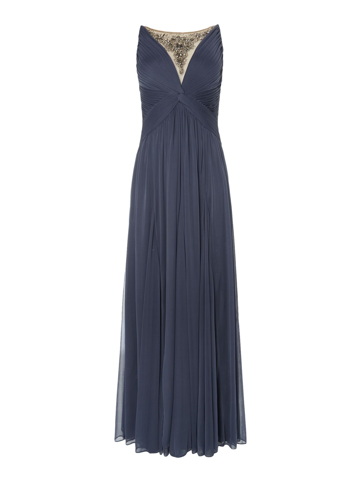 Adrianna Papell Illusion V neck beaded gown $100.00 AT vintagedancer.com