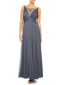 Illusion V neck beaded gown