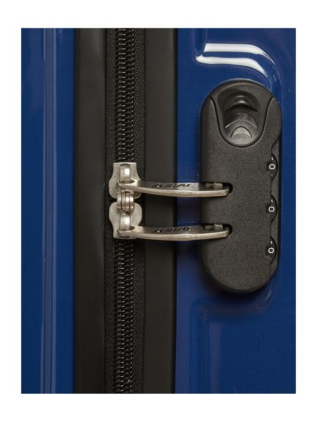 Delsey Axial blue 4 wheel hard cabin suitcase