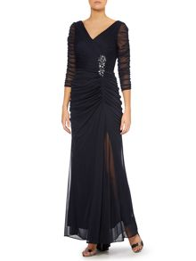 3/4 length sleeve gown with rouched side waist