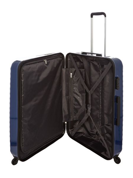 Delsey Axial blue 4 wheel hard large suitcase