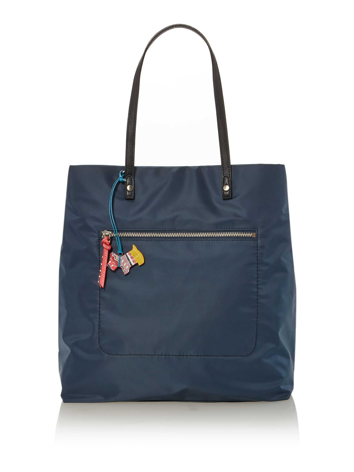 Petticoat navy large ziptop ew leather tote bag