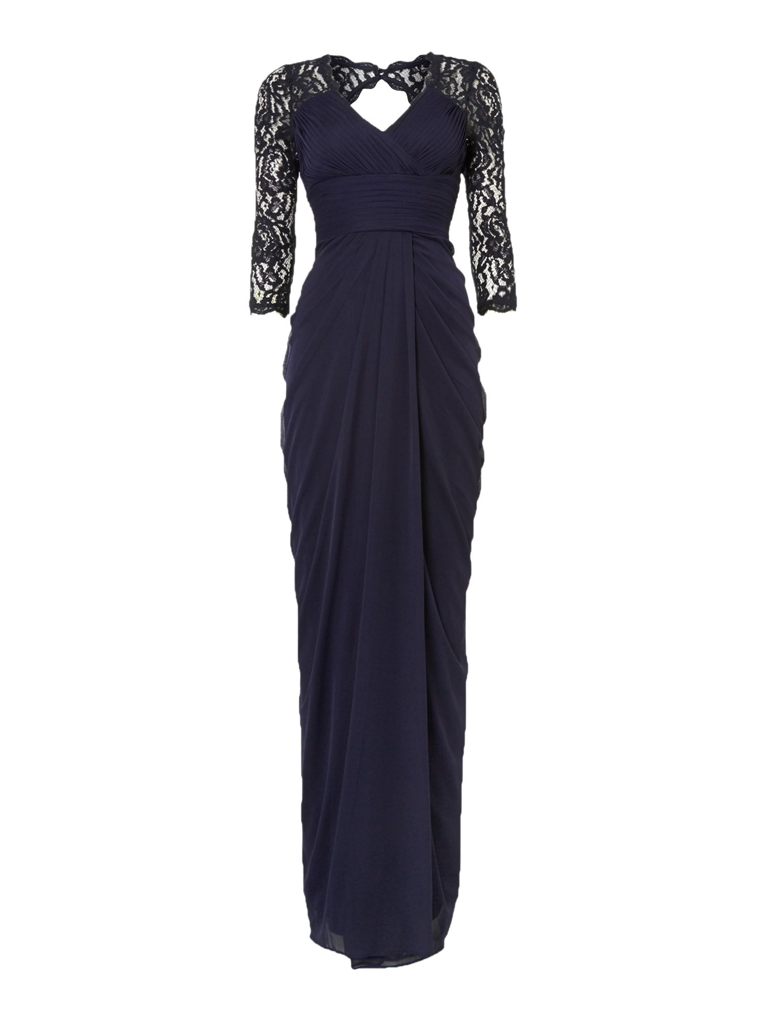 Adrianna Papell Lace sleeve gown with drape body $170.00 AT vintagedancer.com