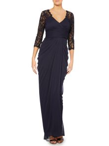 Lace sleeve gown with drape body