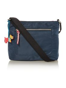 Petticoat navy small ziptop xbody leather bag