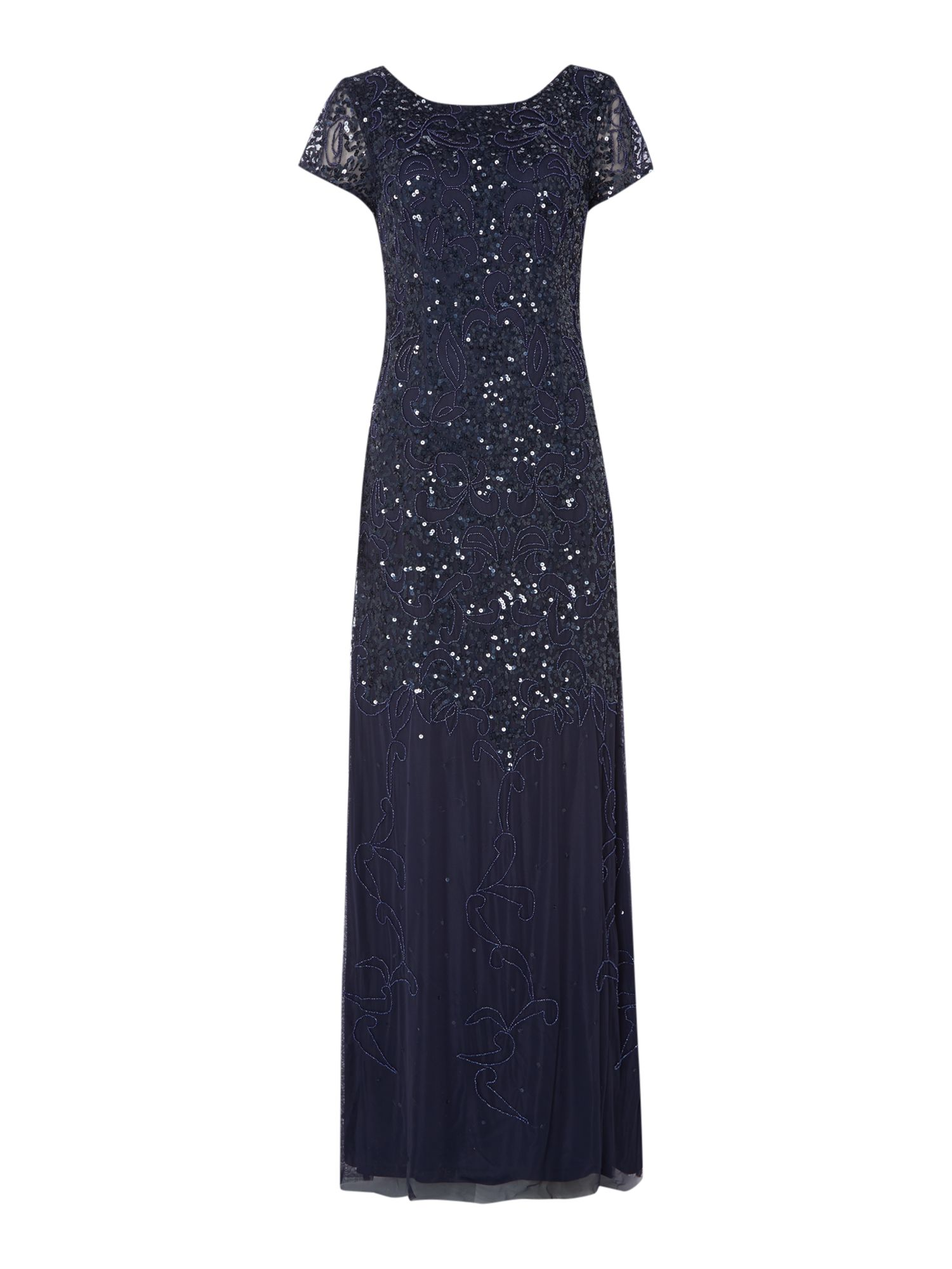 Adrianna Papell 34 sleeve beaded gown $175.00 AT vintagedancer.com