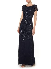 3/4 sleeve beaded gown