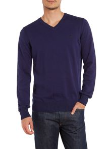 Plain knit v neck jumper