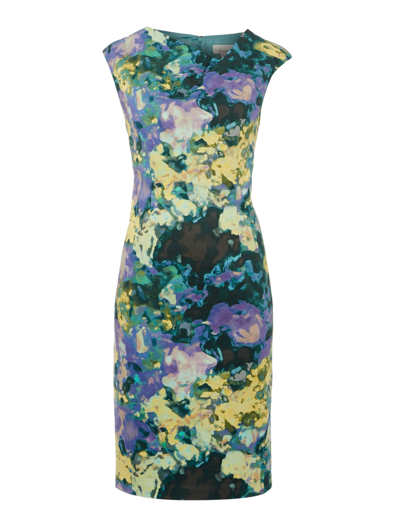 Linea Floral stretch cotton dress, Multi-Coloured