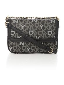 Coated logo black small flap over cross body bag