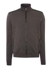 Leather trim sweat jacket