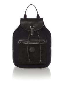 Black quilted mixed media backpack