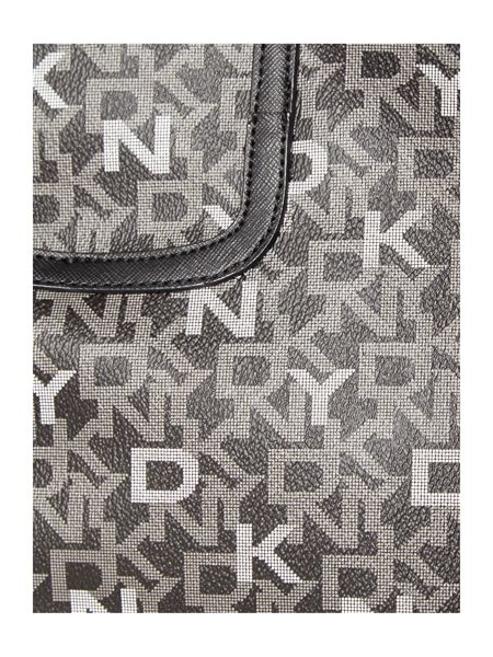 DKNY Coated logo black large zip top tote bag