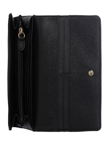 DKNY French grain black large flap over purse