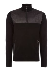 nylon quilted half zip jumper