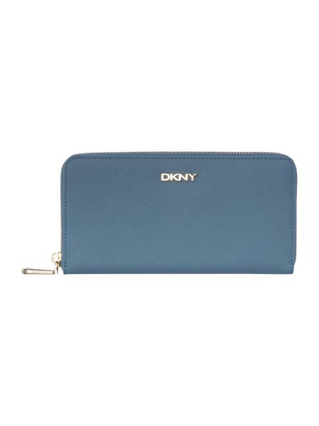 DKNY Saffiano light blue large zip around purse
