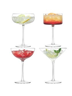 Lulu Champagne/Cocktail Glass Clear Assorted x 4