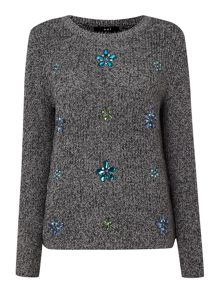 Embellished chunky knit jumper