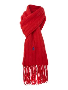 Cable knit wool cashmere scarf with tassles