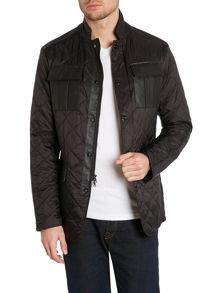 Leather trin quilted jacket