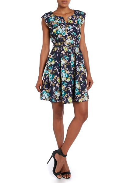 Louche Belted V Neck Cap Sleeve Floral Print Dress