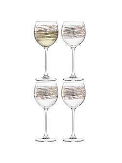 Cocoon Wine Glass 400ml Gold/Platinum x 4
