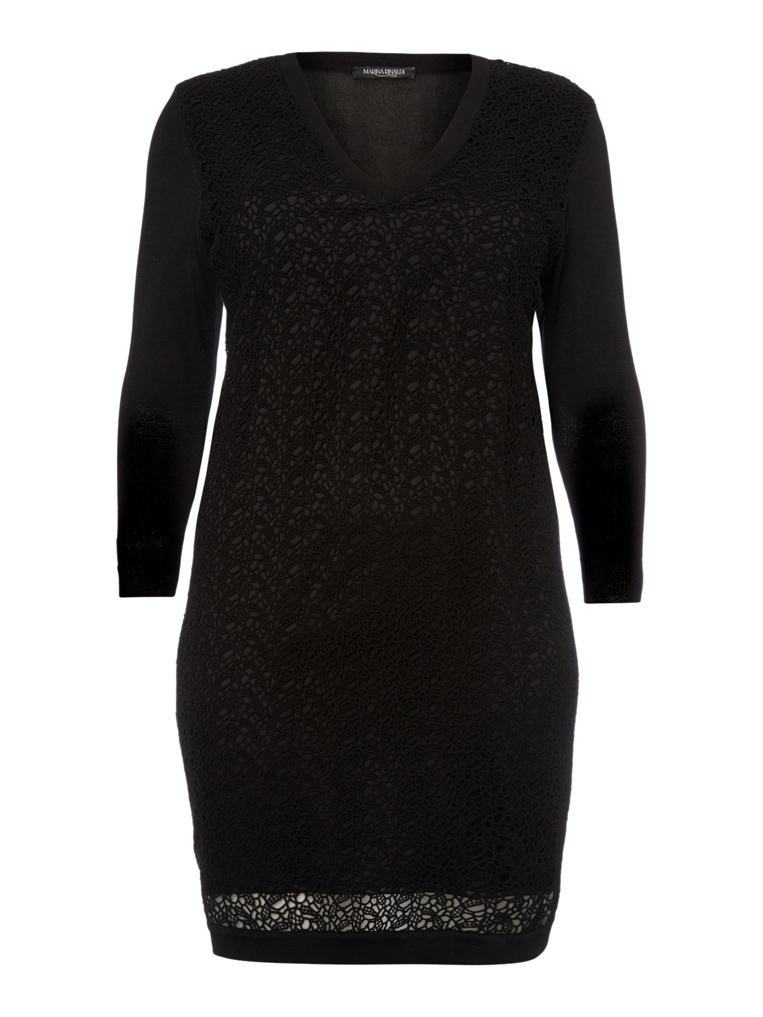 Marina Rinaldi Grace knitted laser cut dress, Black