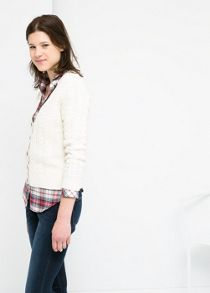 Cable knit cotton cardigan