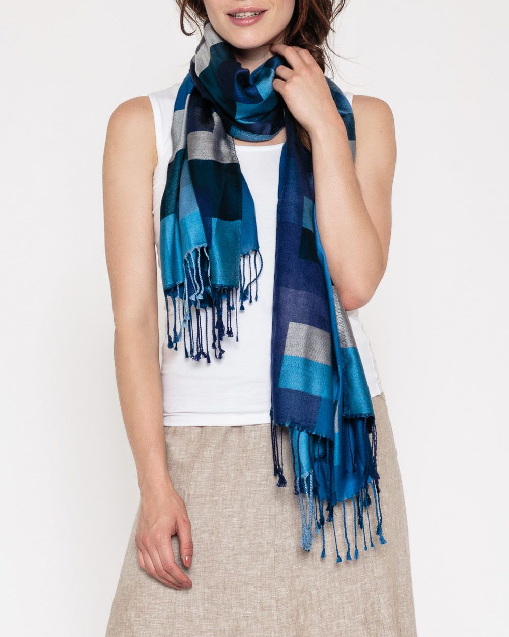 Silk Colourblock Scarf