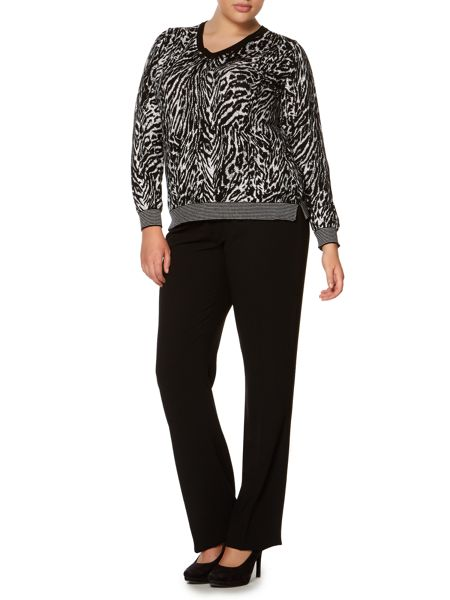 Marina Rinaldi Anguria long sleeve zebra knit v neck