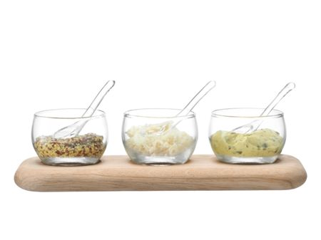 LSA Serve Condiment Set & Oak Base L25.5 Clear *
