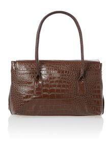 Olivia Jade brown croc flapover tote bag
