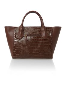 Mani brown croc tote bag