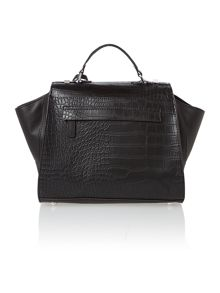 Willow black croc large satchel bag