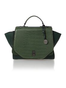 Willow green croc large satchel bag