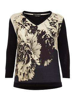 Plus Size V neck printed front panel top