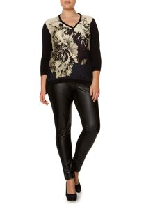 Marina Rinaldi Plus Size V neck printed front panel top