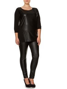 Marina Rinaldi Plus Size Faux leather panel top