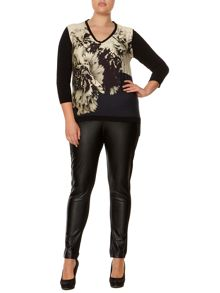 Marina Rinaldi Plus Size Faux leather panel trousers