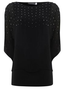 Black Square Bead Double Layer Top